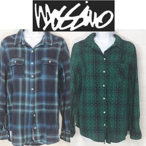 Mossimo-Merona Blue 2 Pack Plaid Button Up Med